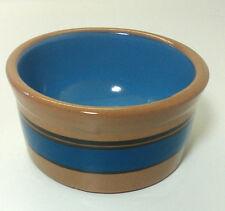 New listing Crock Stripe Cat Dog Bowl Dish Pottery Tan Blue 4.25 inch