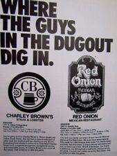 "1977 Charley Brown's & Red Onion Anaheim Ca Original Print Ad 8.5 x 11 """
