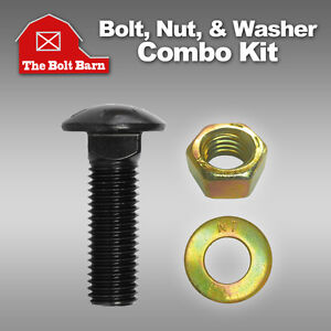 (5) 3/4-10x3-1/2 Grade 8 Full Thread Carriage Bolts, Hex Nuts, & Washers