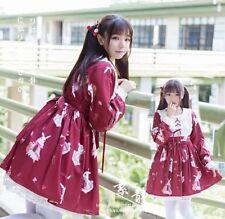 Womens Lolita Dress Girls Long Sleeves Doll Collar A Line Pleated Mini Dresses