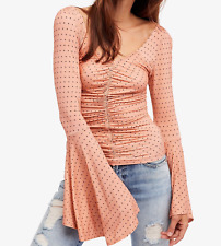 FREE PEOPLE WE THE FREE PINK BELL SLEEVE WHAT A BABE PRINTED POLKA DOT TOP M