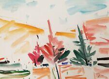 JOSE TRUJILLO - ORIGINAL Watercolor Painting Landscape Fauvist COA Impressionist