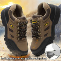 Mens Safety Waterproof Shoes Breathable Work Boots Hiking Shoes Steel Toe Sole