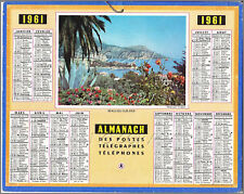 ALMANACH CALENDRIER  PTT  1961 BEAULIEU sur MER  BE+  cadeau ANNIVERSAIRE