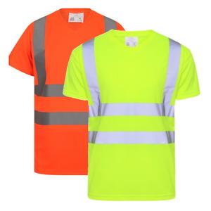 Hi Vis Viz V-Neck T-Shirt High Visibility Safety Securtiy Workwear Top Tee S-5XL