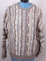 Alan Stuart Cosby USA Crew Neck 3D Knit Geometric crew Pullover Sweater Men's L