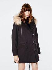 Maje Gaston Noir Black Women's Winter Coat Raccoon Fur Hoodie Trim Size S 36