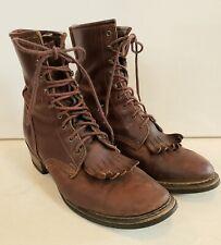 VTG BILTRITE Laceup Kiltie Brown Leather Boots Men 8 D Women 9.5 VIBRAM Soles 41