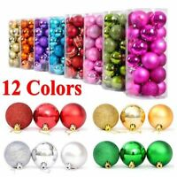 24PCS 3/4/6/8CM Christmas Xmas Tree Ball Bauble Hanging Party Ornament Decor USA