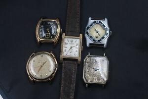 5 Enameled Art Deco Bulova Wakmann Fancy Vintages Watches for Repair