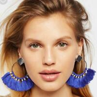 Womens Bohemian Earrings Sector Tassel Fringe Dangle Stud Earrings Jewelry