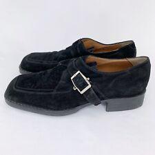 Cesare Paciotti Black Suede Buckle Strap Shoes Mens Size 10