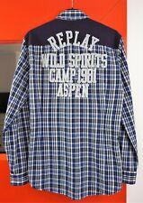 REPLAY Men's M4652.000.50500 Long Sleeve SLIM Fit Plaid Cotton Shirt size L
