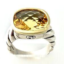 David Yurman Noblesse Sterling Silver & 18K Yellow Gold Citrine Ring Size 6.5