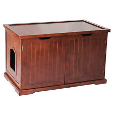 Small Pet House Wash Room Bench Litter Box Cat Supply Food Storage Cabinet Top