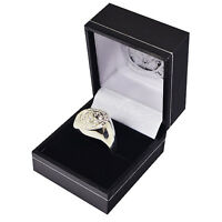 LEICESTER CITY FC SILVER PLATED CREST RING S,M,L SIZE IN BLACK GIFT BOX NEW XMAS