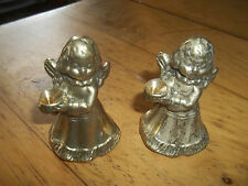 TWO ANTIQUE / VINTAGE SOLID SMALL  BRASS ANGLE SHAPED CANDLE STICK HOLDER