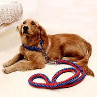 Nylon Braided Traction Rope Dog Lead & Collar Set Martingale Chain Collars Leash