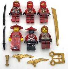LEGO 6 NEW RED NINJAS NINAGO KAI SAMURAI CASTLE MINIFIGURES WITH WEAPONS FIGS