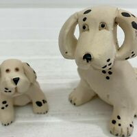 Artesania Rinconada Dalmatian Dog and Puppy Pair Figurines Uruguay Art Pottery
