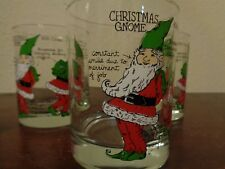 Vintage Christmas Gnome Elf Double Old Fashioned Glasses Set Of 6 Signed