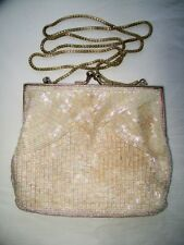"Cream Ivory Beaded MAGID Evening Purse w/ 38"" chain strap - 6¼"" x 5¼"""