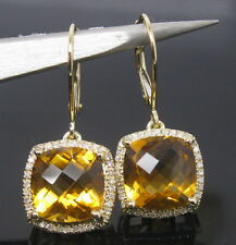 Solid 14K YELLOW GOLD NATURAL YELLOW CITRINE DIAMOND WEDDING DROP EARRING