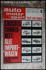 AMS Auto Motor Sport 6/66 Fiat 1100 R Oldsmobile Toronado Abarth V8 Moto