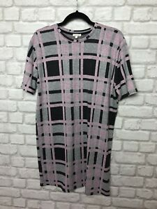 River Island Ladies Dress Size 8 Grey Pink Mix Check Checked Tunic Style