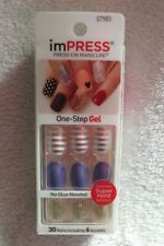 ImPress Press On Nails 30 Nails Including 6 Accents Oval Purple Glitter New