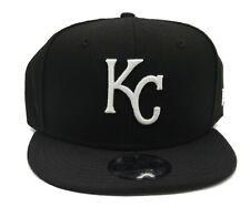 Kansas City Royals New Era 9Fifty Black White Rear Logo Adjust Snapback Hat Cap