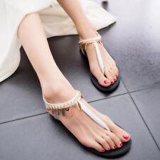 Summer Women Flat Sandals T-Strap Slippers Casual Beach Bohemia Flip Flops Shoes