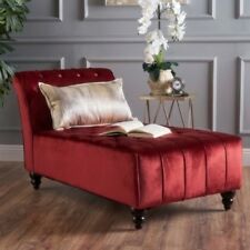 Red Armless Velvet Chaise Lounge Chair Bench Bedroom Living Room Furniture Ruby