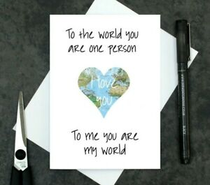 romantic Valentine's Day card - map card - cute I love you card - anniversary