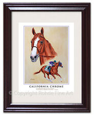 CALIFORNIA CHROME - FRAMED HORSE RACING ART equine portrait painting NICE