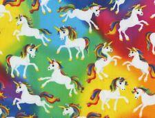 Fat Quarter Unicorns Fabric Rainbow Bright Unicorn Mystical Horse Cotton Fq