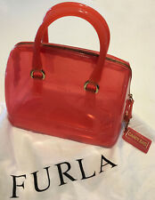 Furla Women's Pink Glossy Rubber Candy Satchel Bag