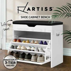 Artiss Shoe Cabinet Bench Shoes Organiser Storage Rack Cupboard White 15 Pairs