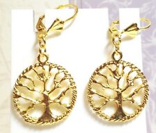 TREE OF LIFE GOLD_Charm Earrings_Branch Earth Nature Leaf Buddhist Pagan Wiccan