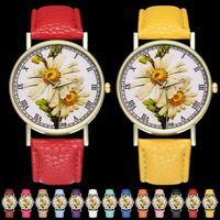 Fashion Women Diasy Flower Dial Quartz Watch Analog Leather Band Wristwatch Gift