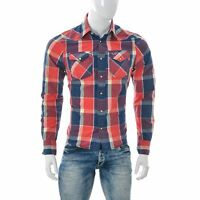 Hollister Uomo Western T-Shirt Manica Lunga 2-Chest Tasca Scuro Wash Plaid Top S
