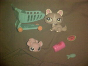 Littlest Pet Shop  Spring Pets SET  Cat # 1370  Mouse # 1371   Retired  Complete