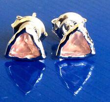 Trillion Cut Genuine Natural Rose Quatz Real 925 Sterling Silver Stud Earrings