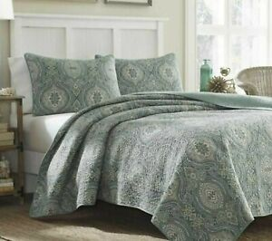 TOMMY BAHAMA King Quilt Set w/Shams Turtle Cove Green New
