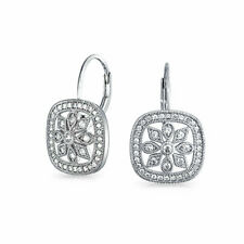 Square CZ Deco Style Snowflake Leverback Drop Earrings Sterling Silver