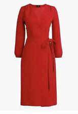 J. Crew Women's Wrap Dress 365 Crepe Festive Red Size 0 NWT  $138 Style H6232