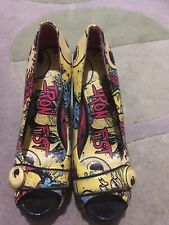 Iron Fist 'OH NO EYEBALL' PEEP toe Platforms Yellow Size 5