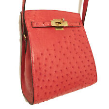 ROBERTS RED ICONIC K SPORTS STYLE GENUINE OSTRICH SKIN SHOULDER BAG
