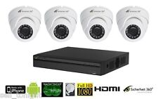 Videoüberwachung Komplett SET mit 4x HDCVI Dome Kameras, Rekorder, 4xKabel, 2TB!