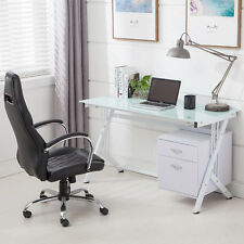 White Tempered Glass Top Computer Desk PC Laptop Workstation Table With 2 Drawer